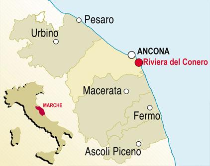 Cartina Conero Marche.Contatti